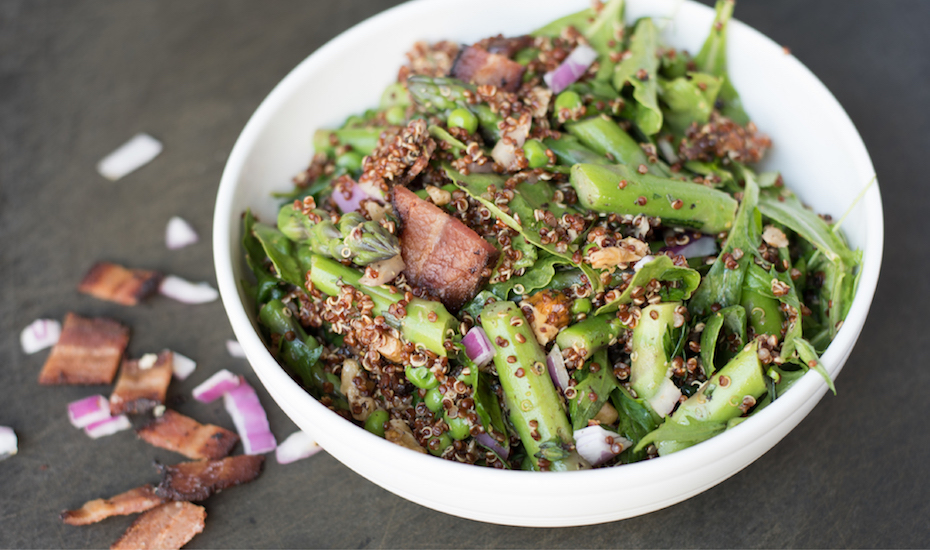 Some salads are worthy of patio dining, including this Asparagus and Green Pea Quinoa Salad!
