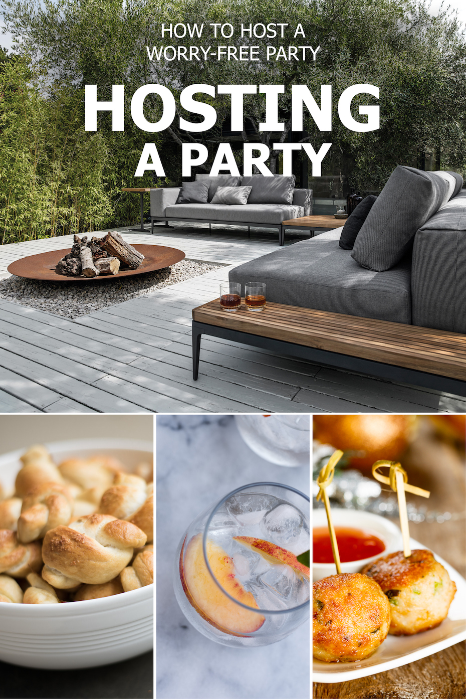 Comfortable seating, serving platters, and stemless glassware make for hosting a worry-free party.