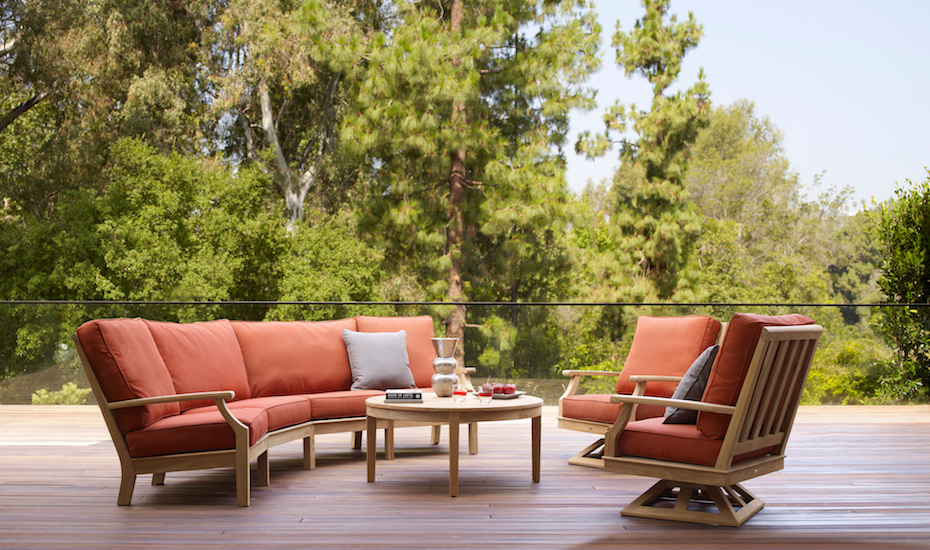 Outdoor sectional with large cushions provides the maximum in comfort.