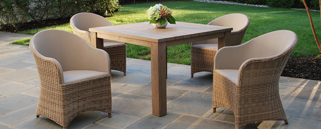Kingsley Bate's Milano collection gives a modern update to the classic  barrel-back chair. The upholstered sling seating surface is gently padded  with ... - Kingsley Bate Milano Outdoor Dining Set Summer House Patio