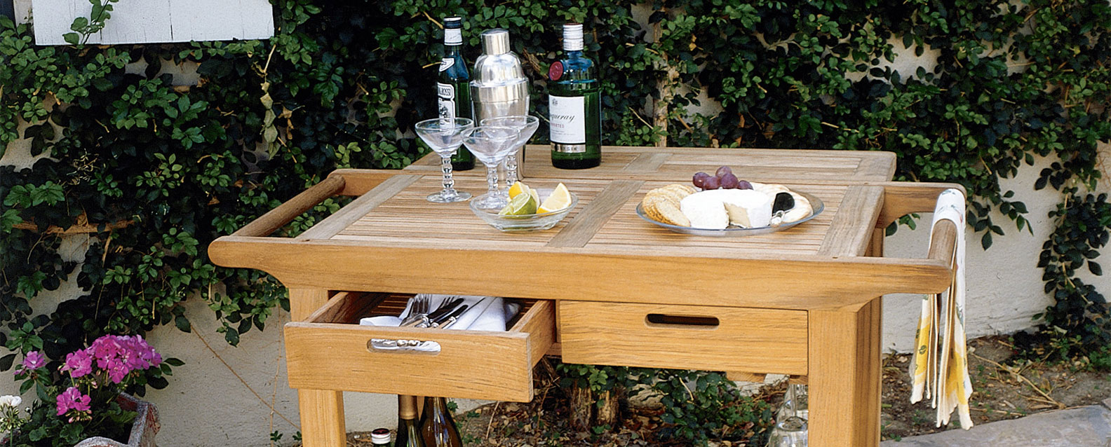 Flexible And Multifunctional, Kingsley Bateu0027s Teak Serving Cart Makes  Supplying A Crowd Easy. With A Bottle Rack, Inverted Stemware Holder, ...